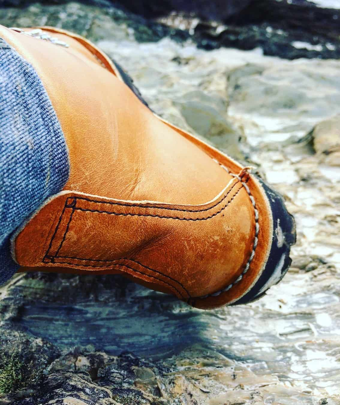 Vintage hiking boots with beautiful stitching