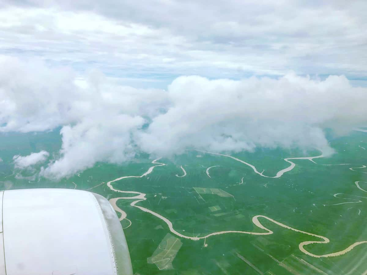 Kinabatangan river from air