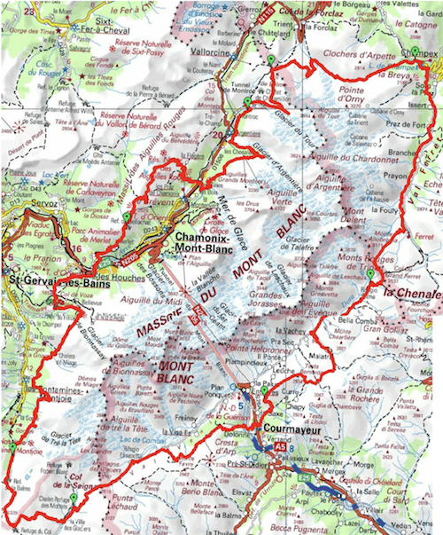 Map of the Tour du Mont Blanc hiking trail
