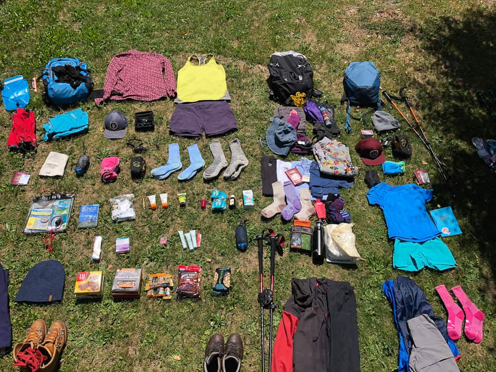 what to pack for the tour du Mont Blanc