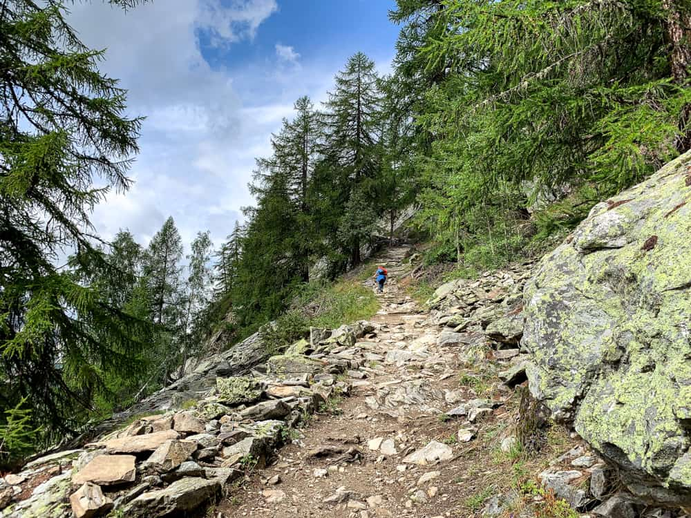 trail to Refuge Bertone from Courmayeur